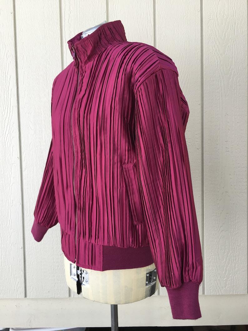 90s Hot Pink Pleated Satin Bomber Jacket SM Vintage Zip Up Streetwear Lightweight Coat 1990s