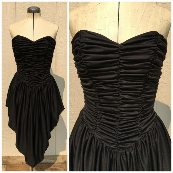 Vintage 80s Prom Dress Strapless Ruched Pleats Tul
