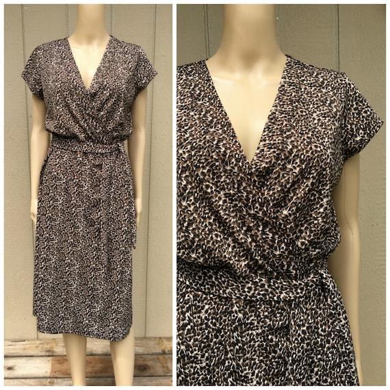 Vintage 1990s WILLI SMITH Wrap Dress Leopard Print