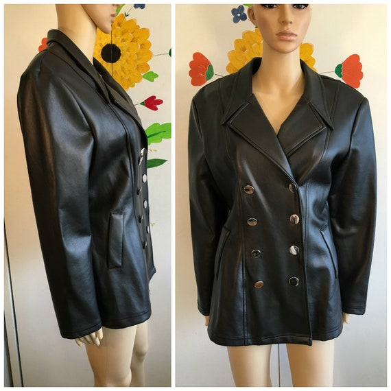 Vintage Black Faux Leather Double Breasted Jacket 80s Fake Leather Coat Silver Buttons Wide Collar STAR CCC Size Large 1980s