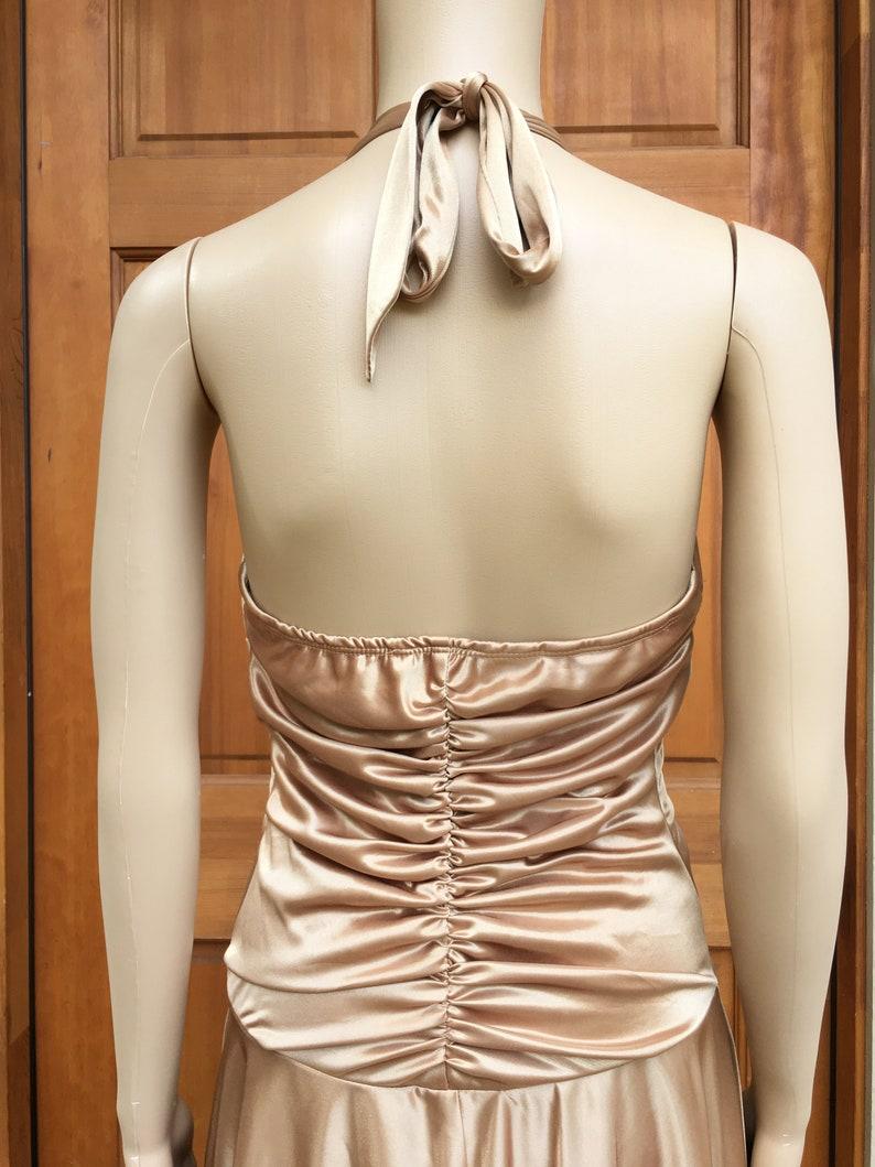 NWT 90s Shiny Gold Party Dress Medium Vintage Handkerchief Hem High Low Halter Sun Dress XOXO 1990s