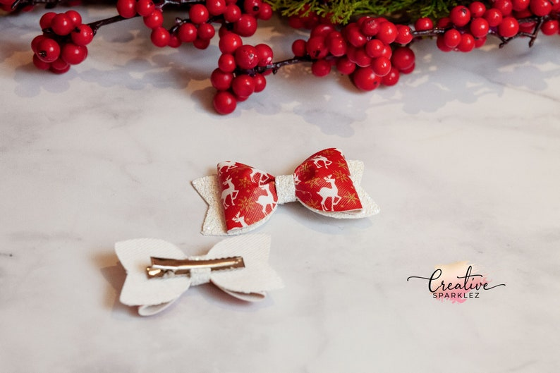 Girl Christmas Gift Reindeer Christmas Hair Bow Red Christmas hair clip Holiday red headband Toddler Girl Bows Christmas Photo Bow