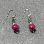 Hot pink and bright green handmade earrings with metal accents, Gift earrings, FREE shipping