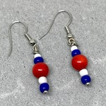 Red and white & blue handmade linear earrings, Gift earrings, U.S. holidays earrings, FREE Shipping