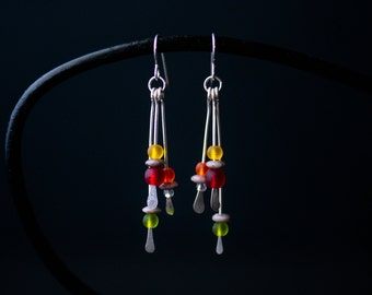 Beaded Statement Earrings   Minimalist Handmade Jewelry   Long Red Yellow Orange Green Sea Glass  Silver Gift for Her Care Kit FREE SHIPPING