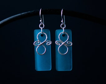 Teal & Silver Statement Earrings   Minimalist Handmade Jewelry   Sea Glass Hammered Sterling   Holiday Gift for Her   Care Kit FREE SHIPPING