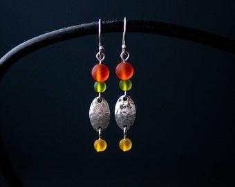 Colorful Silver Statement Earrings   Minimalist Handmade Jewelry  Sea Glass Green Orange Yellow   Boho Gift for Her   CareKit FREE SHIPPING