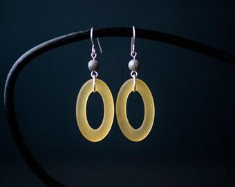 Yellow Oval Statement Earrings   Minimalist Handmade Jewelry   Modern Cultured Sea Glass   Boho Aesthetic Gift for Her CareKit FREE SHIPPING