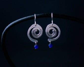 Silver Spiral Statement Earrings   Minimalist Handmade Jewelry  Modern Royal Blue Sea Glass  Sterling Gift for Her  Care Kit FREE SHIPPING