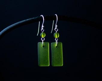 Olive Green Modern Earrings   Minimalist Handmade Jewelry   Sterling Silver Sea Glass Dangle   Holiday Gift for Women  CareKit FREE SHIPPING