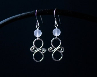 Silver Statement Earrings   Minimalist Handmade Jewelry   Frosted White Cultured Sea Glass    Holiday Gift for Her   CareKit   FREE SHIPPING