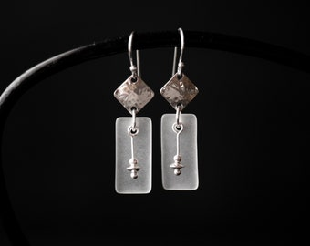 Sea Glass & Silver Hammered Dangle Earrings   Minimalist Handmade Jewelry  Frosted Crystal White Sterling Gift for Her CareKit FREE SHIPPING