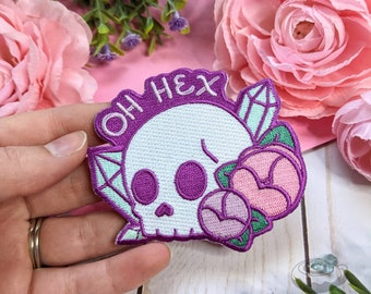Oh Hex Iron On Patch // Cute, Kawaii, Witch, Skull, Embroidered