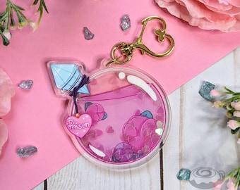 Love is Poison Glitter Shaker Acrylic Charm // Cute, Kawaii, Double Sided, Heart Glitter, Potion
