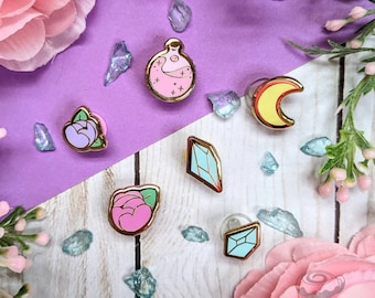 Witchy Mini Enamel Pin Bundle // Board Filler, Cute, Kawaii, Halloween, Crystal, Potion, Moon, Flower