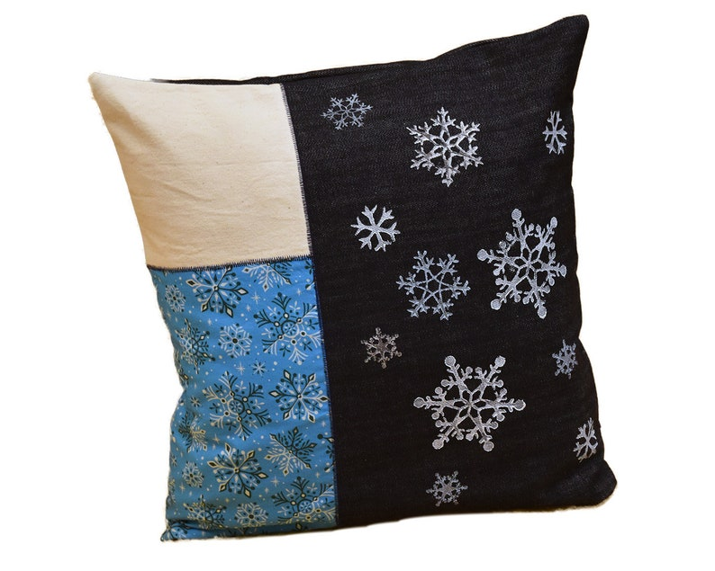 Hand-printed pillow case snowflake jeans image 0
