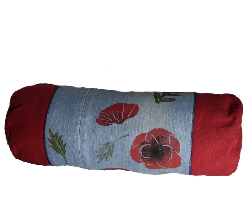 Hand-printed pillow case poppy flower jeans image 0