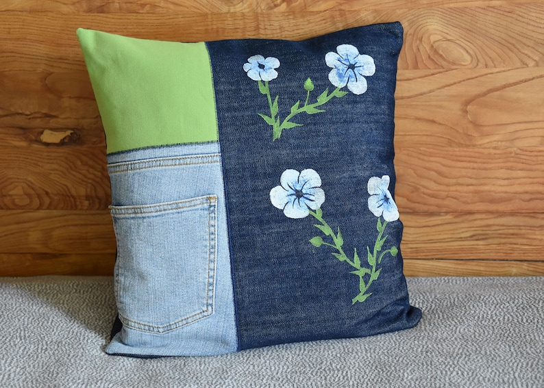 Hand-printed cushion cover linseed jeans image 0