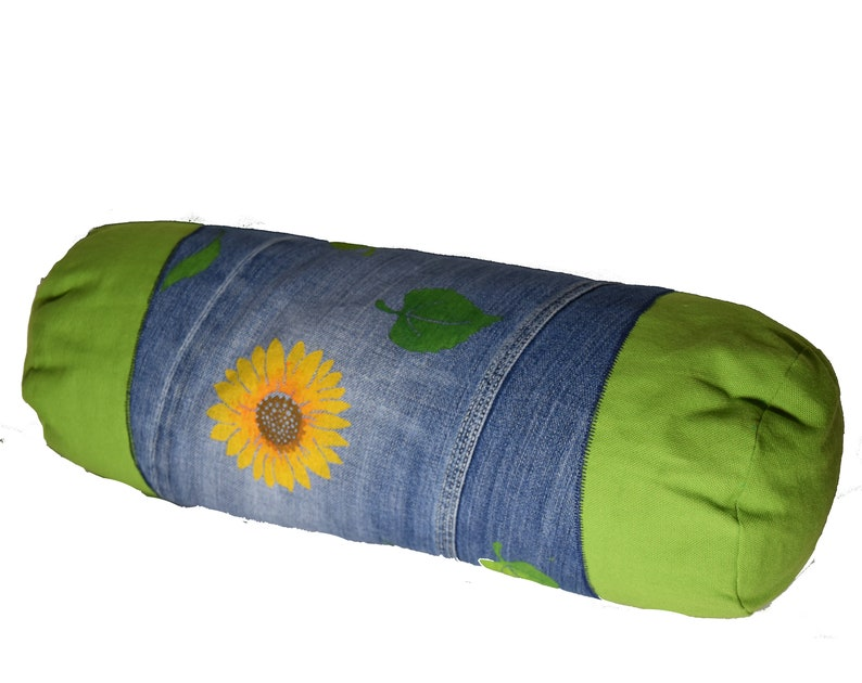 Hand-printed pillow case sunflower jeans image 0