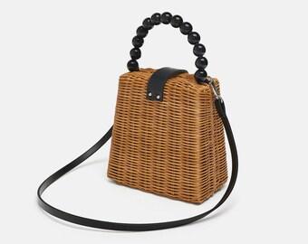 e53a0433286e18 Marke Designer Perle handgewebt Stroh Tasche Frauen Samll Einkaufstaschen  für Sommer Reise Griff Tasche Damen Schulter für Mädchen