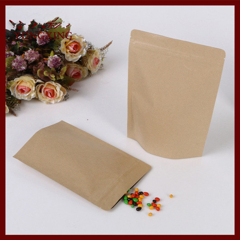 17*24+4 20pcs brown self zip lock kraft paper bags stand up for gifts sweets and candy food tea jewelry retail package paper