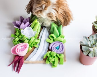 Handmade Succulent garden snuffle mat toy - dog toy, pet toy, interactive, mental exercise, pet gift, brain game, mentally stimulating game