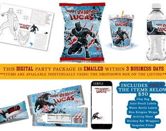 20 BLACK PANTHER BIRTHDAY PARTY FAVORS STICKERS LABELS FOR YOUR PARTY FAVORS
