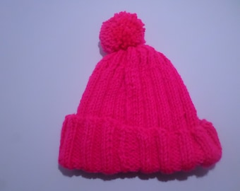 6dc3625616a Kids Hot Pink Poof Ball Stocking Sweater Beanie Cap Hat