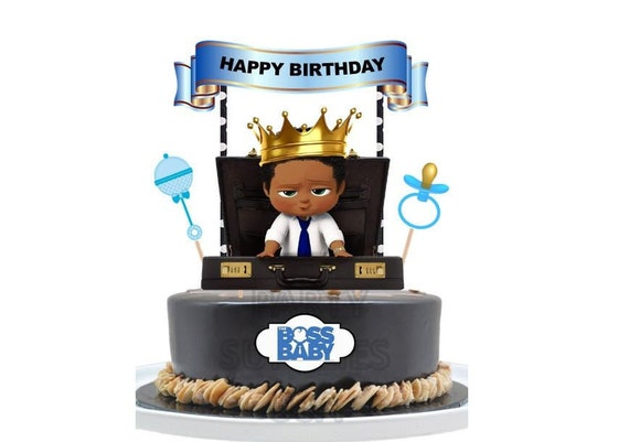 Boss Baby Boy African American Afro Cake Topper Made From Premium Paper Boss Baby Birthday Party Supplies Cupcake Toppers Decorations