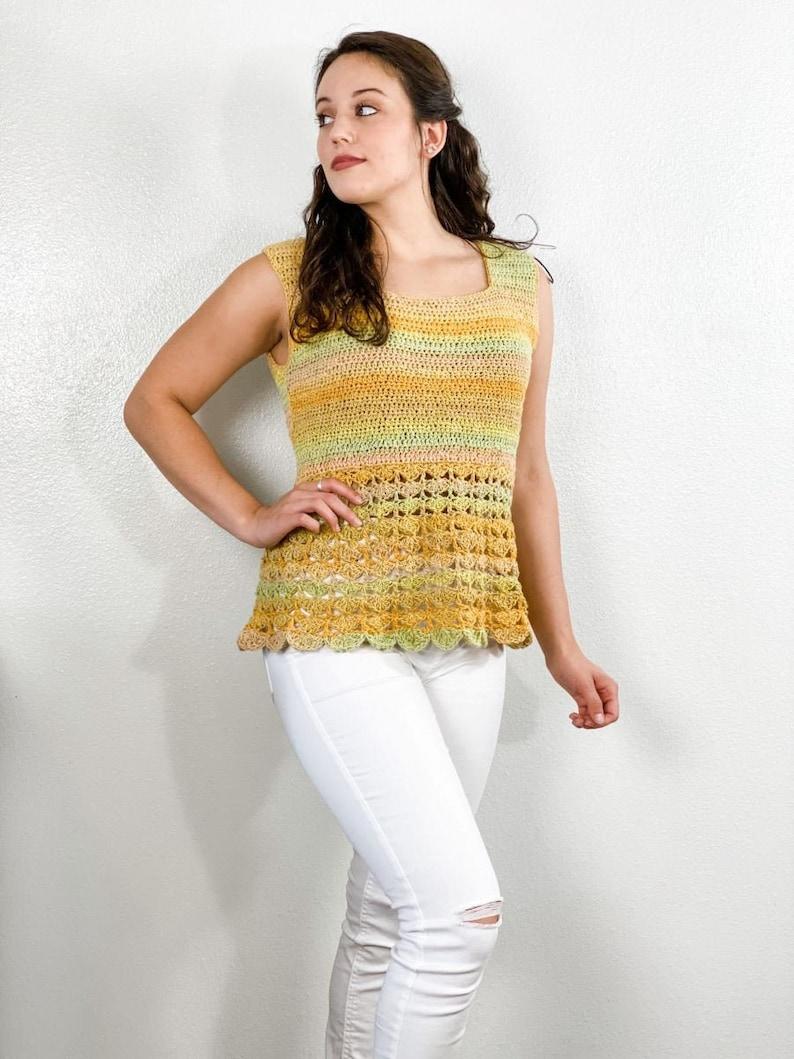 Crochet pattern//Summer Crochet Top Light Lace sleeveless top image 0