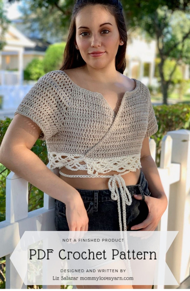 Crochet Pattern// Wrap around ballerina style tied front image 0