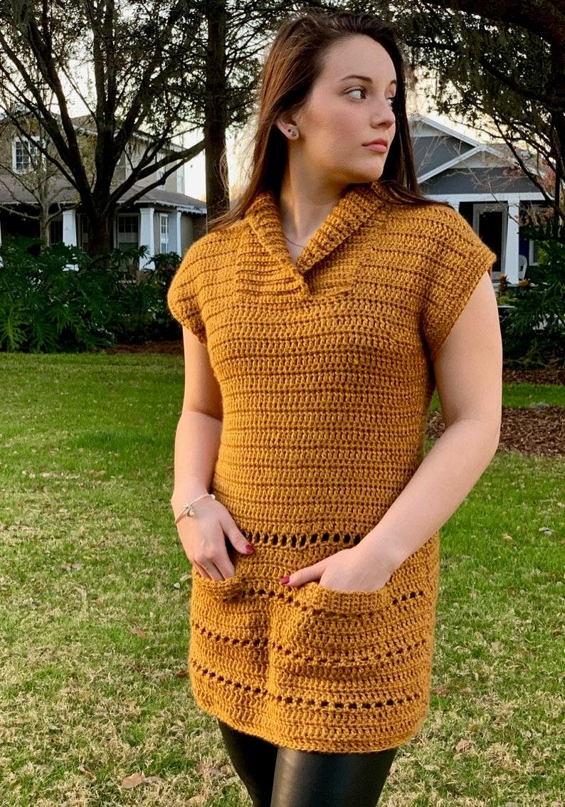 PDF Crochet patternRibbed collar crochet tunicfall pocketed tuniccrochet fall cross-over collared tunic