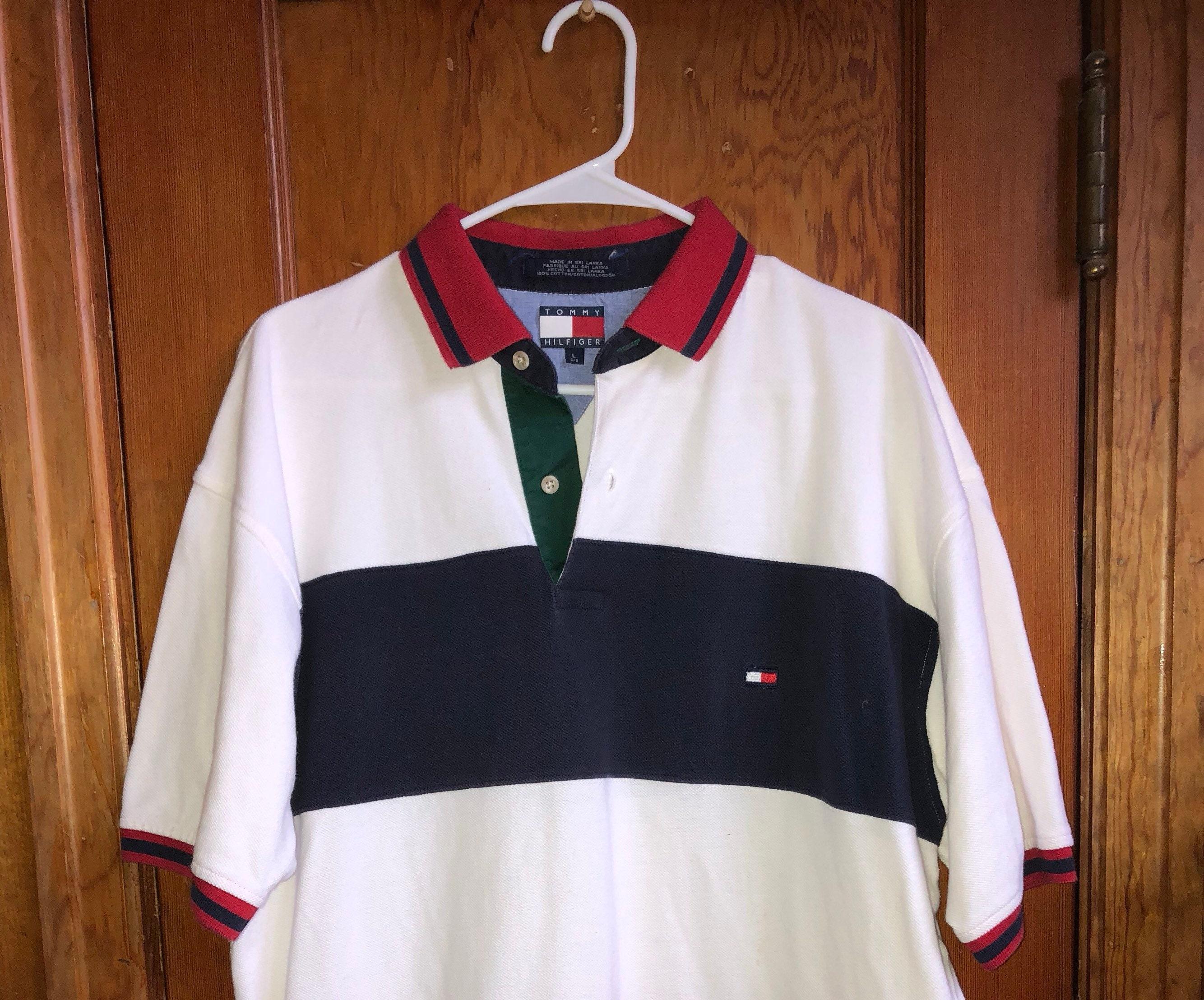 9db887a8 Vintage Tommy Hilfiger Striped Shirt Polo Size Large   Etsy