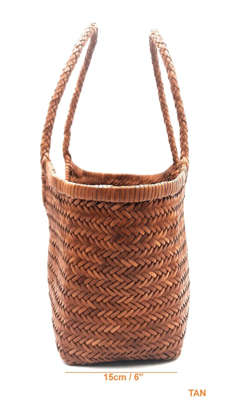 TAN MONALISA ALTICA Genuine Leather Hand Woven Triple Jump Bamboo Style Ladies Hobo Bag Big Size