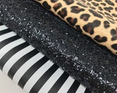 Pvc black white stripes. Cream leopard lether sheets. Chunky black glitter sheets. Craft supplies. Leather and glitter. C06 photo