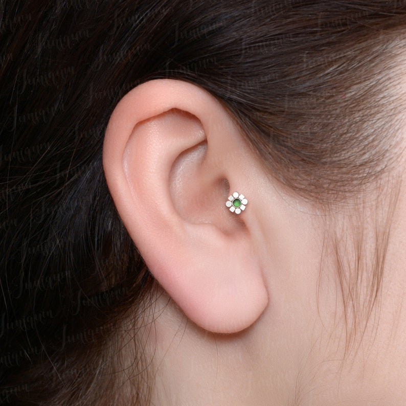 Flat Back Helix Earrings. Cartilage Earring Stud Forward Helix Piercing Tragus Earring Conch Stud Internally Threaded Labret Piercing