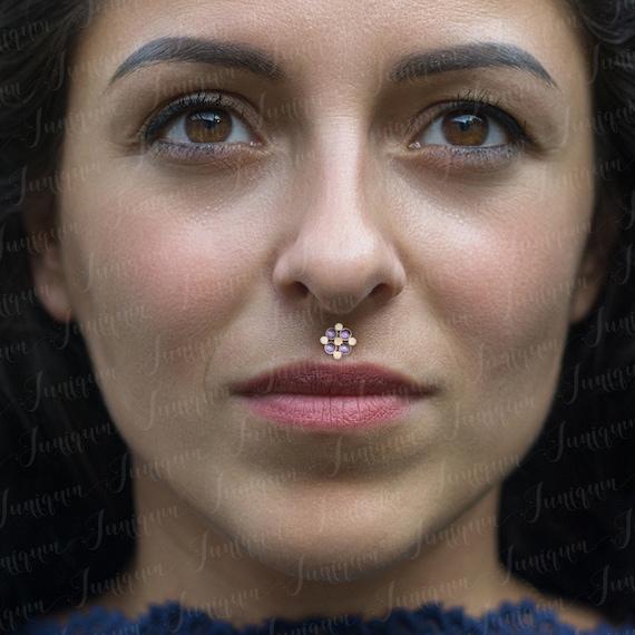 Lip Jewelry Medusa Lip Piercing Monroe Gold Piercing Labret Etsy