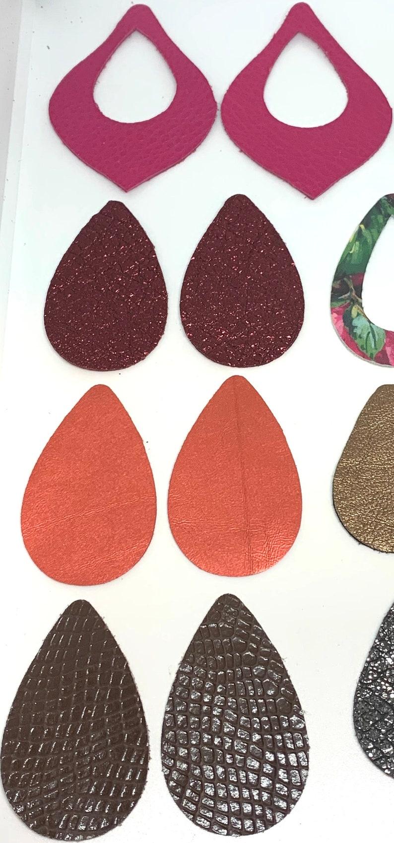 supplier DIY Earring Colored Earring Supplies Teardrop Leather Earring Shape Leather Teardrop pre cut drops cutouts genuine