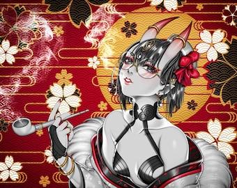 Fate Grand Order - Shuten Douji Gold Foil Anime Poster Print Artwork Hanged Wall Art Home Decor