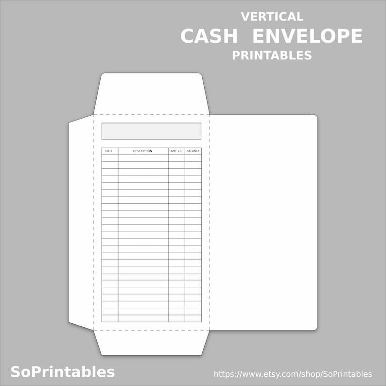 Vertical Cash Envelope Printable Pdf Instant Download Etsy