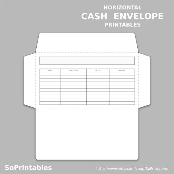 Horizontal Budget Printable Envelope - INSTANT PDF DOWNLOAD - Cash Envelope  Printable - Deposit Template System