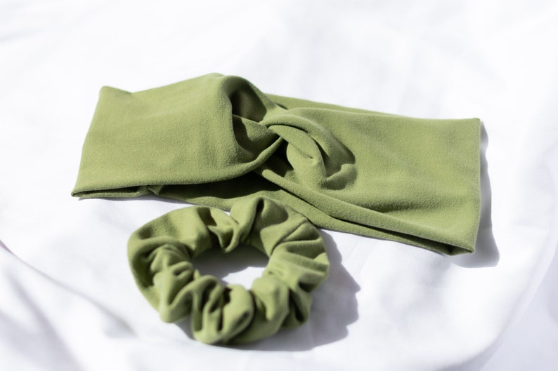 Twisted Headband Scrunchie Set  Saint Patrick/'s Day Sage Green  Jersey Knit