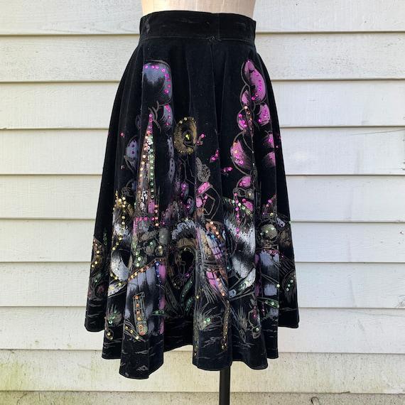 1950s Mexican tourist circle skirt,  black velvet
