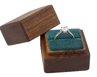 Wooden ring box – walnut with velvet lining – perfect for weddings, ring bearers, proposals, anniversaries, valentine's day or photography