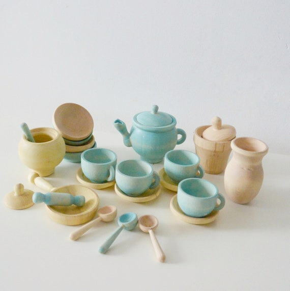 Dishes set Wooden Toy Dishes Kitchen accessories Wood food