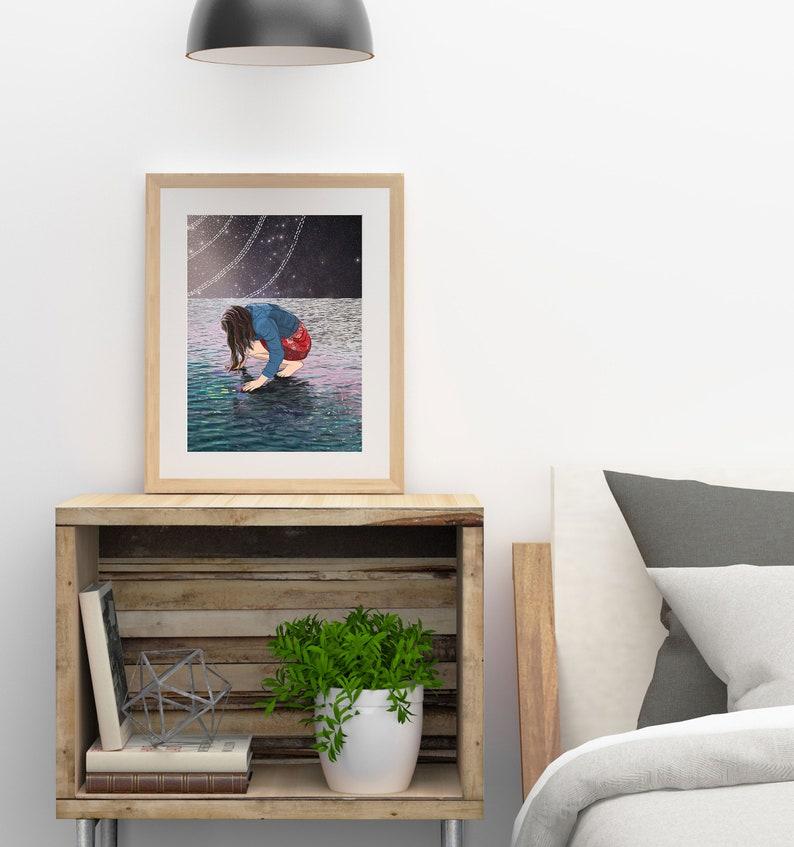 Illustrated woman by the sea modern ocean artwork Surreal female wall art celestial downloadable print Printable art boho nautical decor