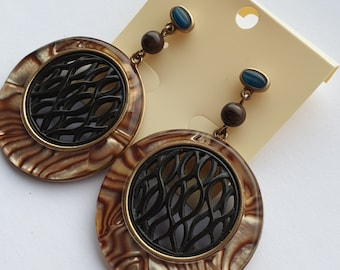 ANTIQUE BRASS 1 Pr Boho Lattice Filigree Earring Drops Hoop Stamping BB-468