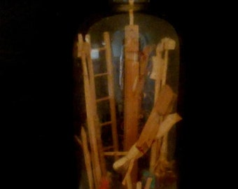 Antique monastic work, entrance into glass bottle, H. 17 cm. wooden cross, ladder, tool