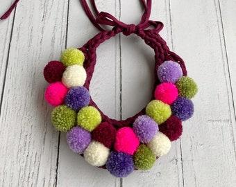 Purple florals Pom-pom Bib Necklace