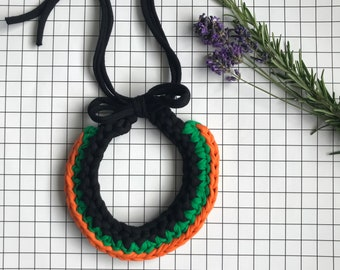 Orange and Green Crochet Necklace - Chunky Statement Jewellery - Recycled Tshirt Yarn - Halloween Theme Choker - Boho Fabric Collar